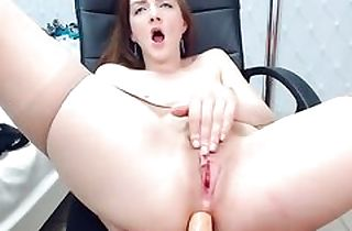 Crumbly in high dudgeon young anal banged himself w dildo