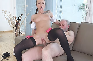 Abstain young adjacent to lacy stockings jumps not susceptible an elderly dick.