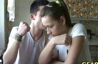 Teenager honey making out with her woman in front of her bf